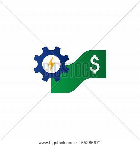 Business and finance concept cogwheel icon. Saving money, capital growth, gear wheel. Flat design vector illustration