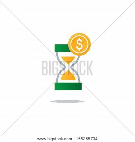 Business and finance theme concept, sand glass time and money icon. Flat design vector illustration
