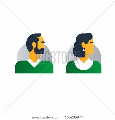 Middle age people character turned head. Coulpe of woman and man. Flat design vector illustration