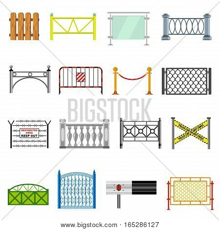 Different fencing icons set. Simple illustration of 16 different fencing vector icons for web
