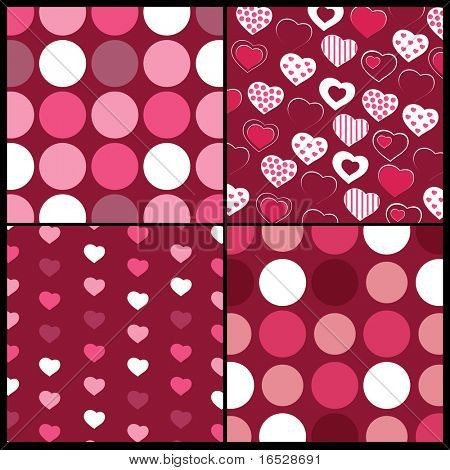 A set of 4 vector patterns for Valentines day