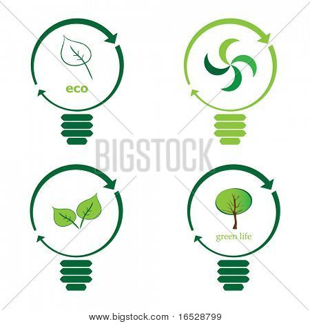 Renewable green energy: 4 Light Bulb