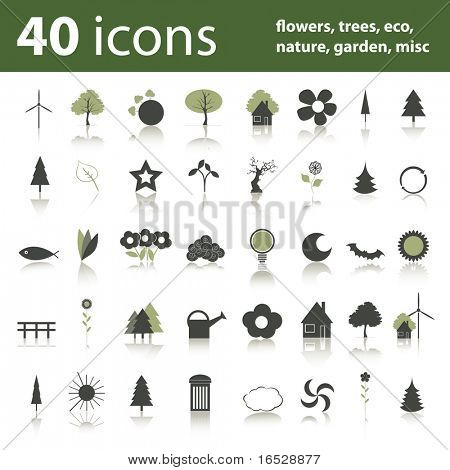 40 icons: flowers, trees, eco, nature, garden, misc
