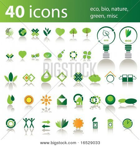 40 Ikonen: Öko, Bio, Natur, grün, Sonstiges