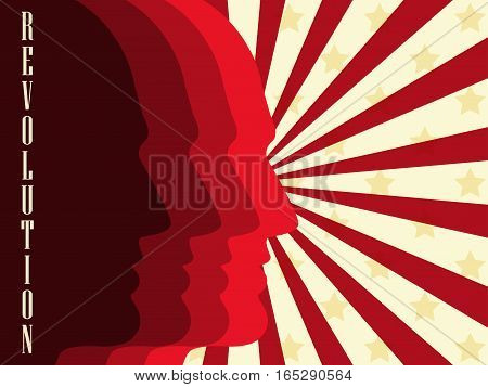 Revolution poster. Background with people and red stripes. Vector illustration.