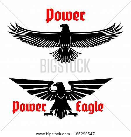 Black eagle vector icons set emblem. Heraldic symbol of power with vulture or falcon predatory bird. Isolated sign of hawk with open spread wings and sharp clutches for sport team mascot, military or security army shield, emblem or coat of arms