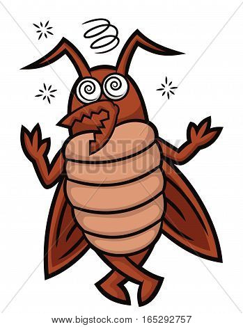 Dizzy Cockroach Cartoon Illustration Isolated on White Background