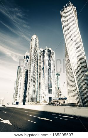 Architecture shot of skyscrapers at dubai marina