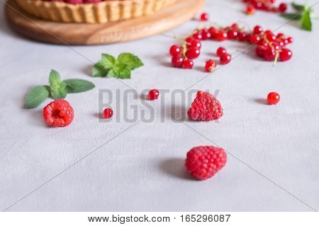 fresh raspberries and red currants and cake tart