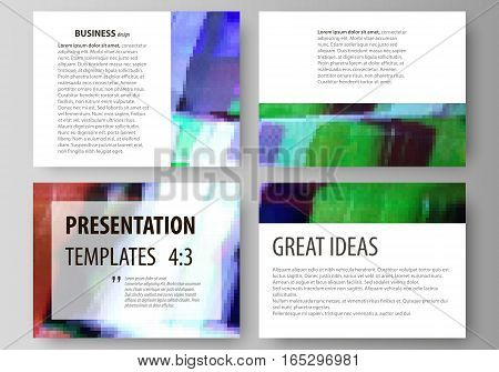 Set of business templates for presentation slides. Easy editable abstract vector layouts in flat design. Glitched background made of colorful pixel mosaic. Digital decay, signal error, television fail.