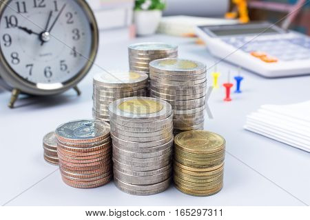 thai coin on office table, finance concept, saving money