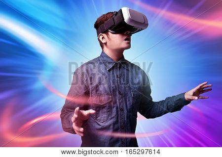 Man using virtual reality glasses high tech