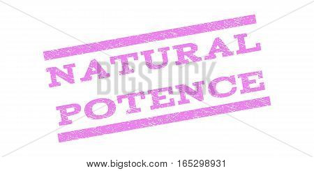 Natural Potence watermark stamp. Text tag between parallel lines with grunge design style. Rubber seal stamp with unclean texture. Vector violet color ink imprint on a white background.