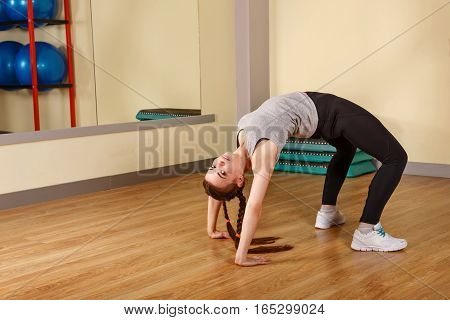 Woman warming up before training. Healthy lifestyle concept. Fitness.