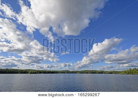 Cloudscape above a Waterscape on Carp Lake in Quetico Provincial Park in Ontario