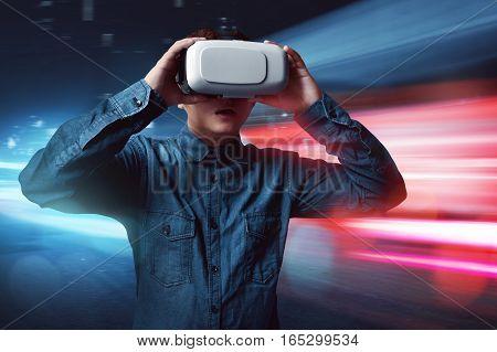 Man wearing virtual reality headset high tech