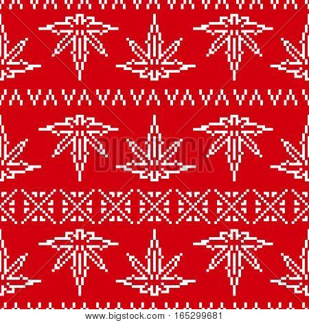 Pixel art game style old school sweater weed leaf seamless vector pattern red