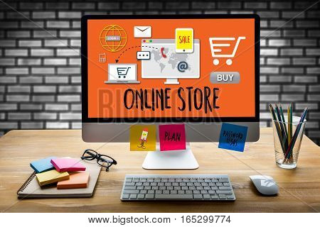 Online Store Add to Cart Online Order Store Buy shop Online payment Shopping business and modern lifestyle Shopping credit card to buy Online Order Shopping