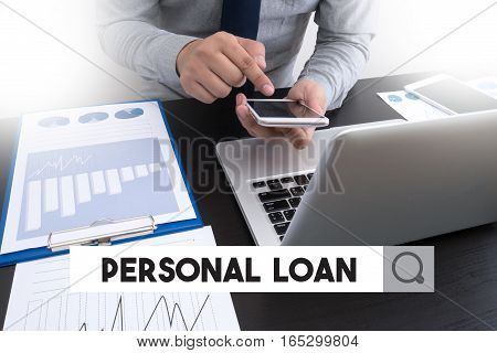 Personal Loan Businessman Working At Office Desk And Using Computer And Objects, Coffee, Top View,