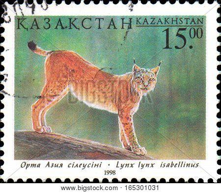 KAZAKHSTAN - CIRCA 1998: Postal stamp printed in Kazakhstan shows Lynx. Fauna of Kazakhstan - family cat