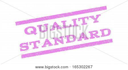 Quality Standard watermark stamp. Text caption between parallel lines with grunge design style. Rubber seal stamp with unclean texture. Vector violet color ink imprint on a white background.