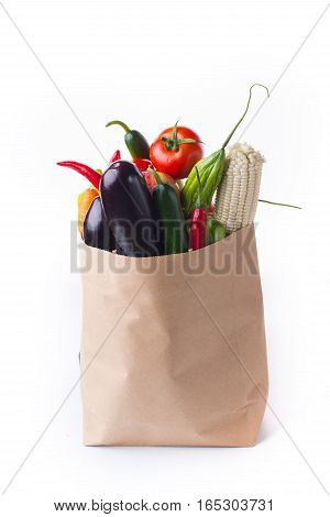 paper bag with products from fruit and vegetables