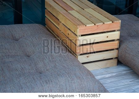 Outdoor wooden box table and seat stock photo