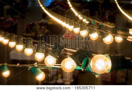 Outdoor Holidays Festival market lighting line decoration