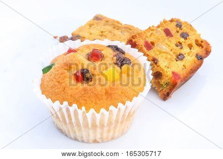 Fruit cake cupcake muffin on white plate background