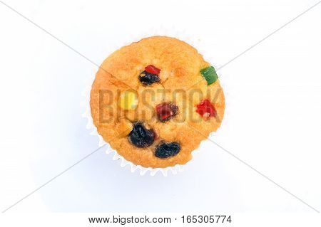 Fruit cupcake muffin on white plate background