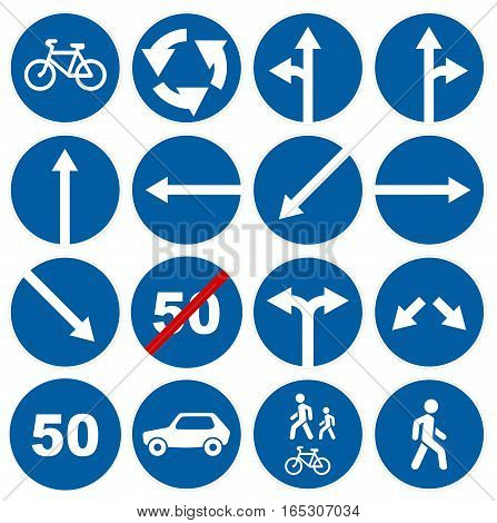 Road traffic signs collections isolated on white illustration