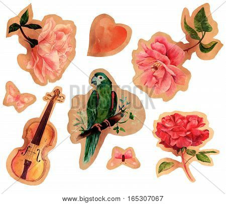 A collection of vintage style cutouts. Watercolour drawings on old paper, isolated on white. Victorian style roses, birds, a violin, butterflies, and a heart. A set of design elements