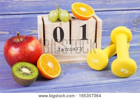 Cube Calendar, Fruits And Dumbbells, New Years Resolutions, Healthy Lifestyle