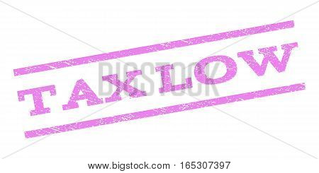 Tax Low watermark stamp. Text tag between parallel lines with grunge design style. Rubber seal stamp with unclean texture. Vector violet color ink imprint on a white background.