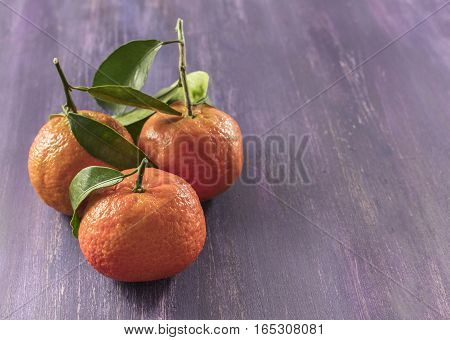 A photo of vibrant orange tangerines with green leaves on a purple texture with copyspace