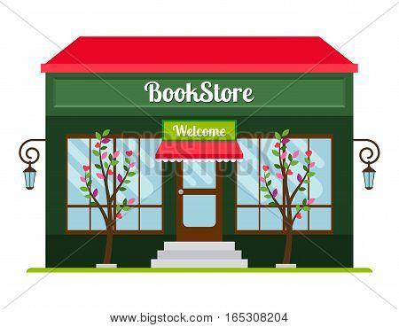 Book store facade colored flat icon. Book shop front veiw vector illustration