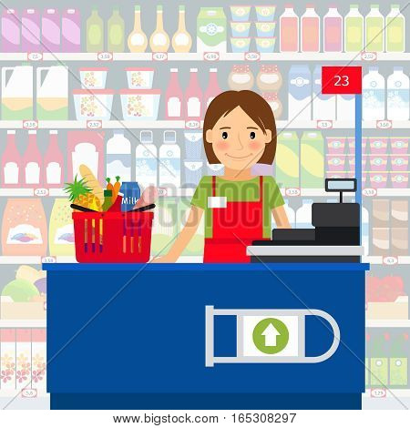Cashier woman at the cash register machine and a shopping cart of groceries. Vector illustration