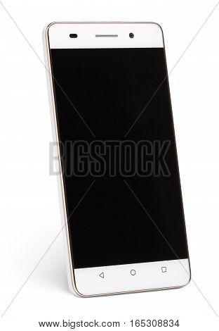 Modern touch screen smartphone with black screen isolated on white background with clipping path