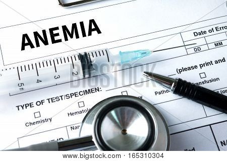 Anemia Blood For Anemia Test , Medical Concept: Anemia  , Diagnosis Iron Deficiency Anemia , Anemia