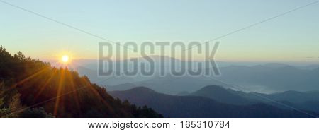 Panoramic Landscape In Spring With Sunlight At The Top Of Mountain In The Northern Part Of Thailand
