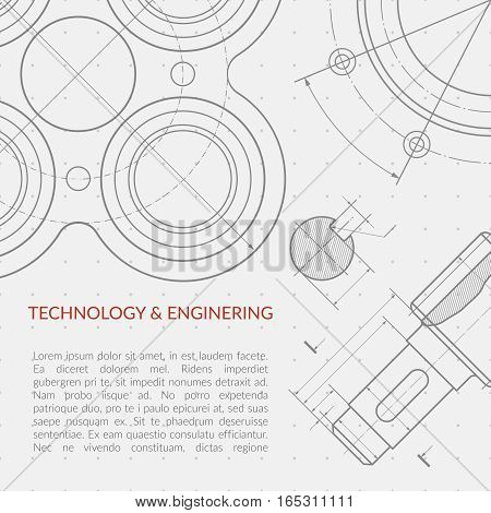 Engineering vector concept with part of machinery technical drawing. Machinery engineering mechanism, banner industry engineering drawing illustration