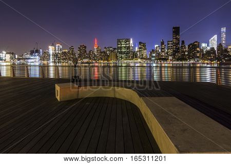 Manhattan At Night, View From Long Island