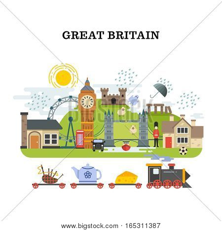 Great britain and london vector traveling concept. Banner tourism in england, poster with landmark london and england illustration