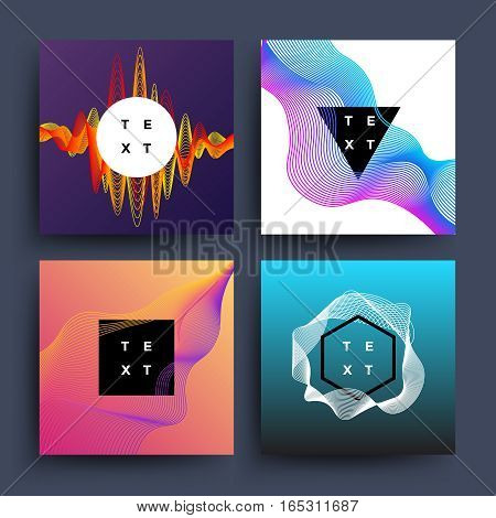 Music album, graphic color wave motion vector abstract backgrounds. Cover for music album with line wave, illustration of motion sound wave