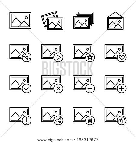 Set of image icons in modern thin line style. High quality black outline picture symbols for web site design and mobile apps. Simple linear image pictograms on a white background.