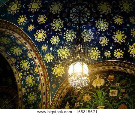 Old styled lantern on the celling of the Church of the Savior on Spilled Blood in Saint Petersburg Russia