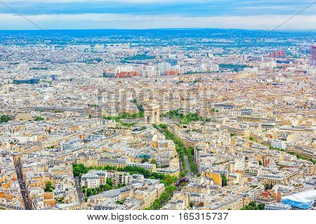 Panorama Of Paris View From The Eiffel Tower.