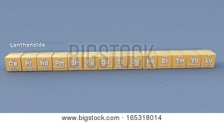 any of the series of fifteen metallic elements from lanthanum to lutetium in the periodic table (atomic numbers 57-71).