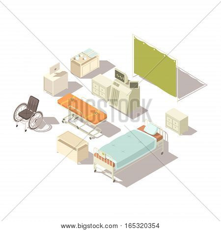 Isolated isometric elements of hospital interior with diagnostic equipment and furniture for patients flat vector illustration