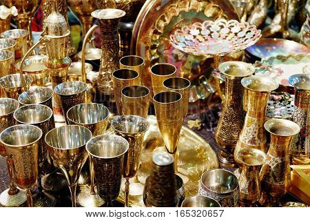 beautiful Golden cups and jugs are shining bright